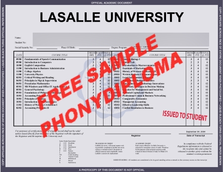 Usa Pennsylvania Lasalle Institute Free Sample From Phonydiploma