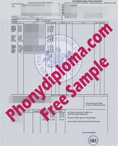 Usa Pennsylvania State University Actual Match Free Sample From Phonydiploma