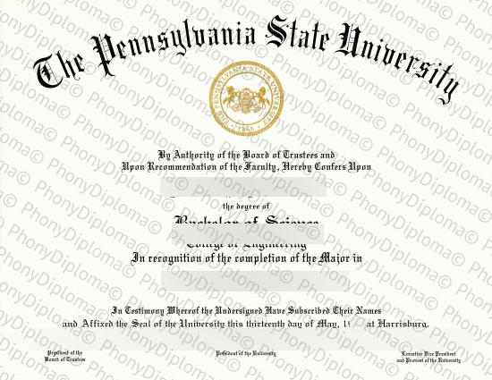 Usa Pennsylvania State University Free Sample From Phonydiploma