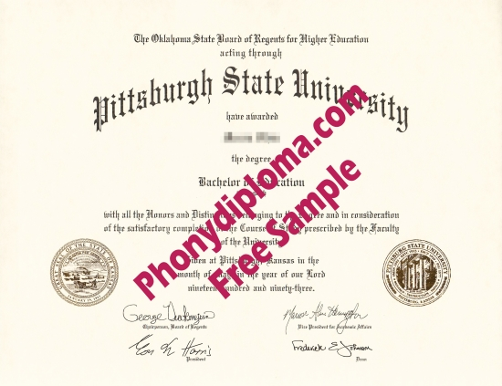 Usa Pittsburgh State University Free Sample From Phonydiploma