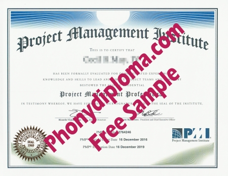 Usa Project Management Institute Professional Free Sample From Phonydiploma