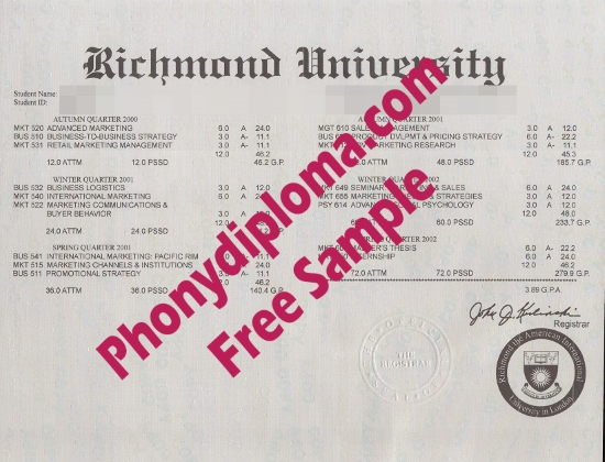 Usa Richmond University Actual Match Transcript Free Sample From Phonydiploma