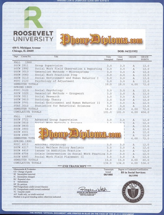 Usa Roosevelt University House Design Transcripts Free Sample From Phonydiploma