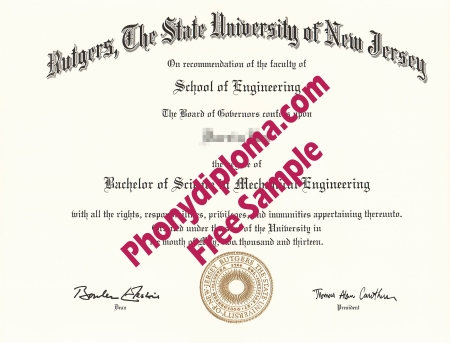 Usa Rutgers University Free Sample From Phonydiploma