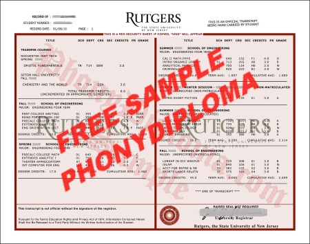 Usa Rutgers University Transcripts Actual Match Free Sample From Phonydiploma