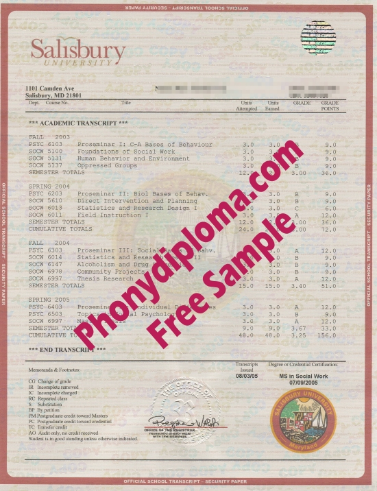 Usa Salisbury University House Design Transcripts Free Sample From Phonydiploma