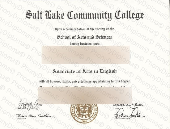 Usa Salt Lake Community College Free Sample From Phonydiploma