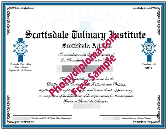 Usa Scottsdale Culinary Institute Fake Diploma Sample From Phonydiploma