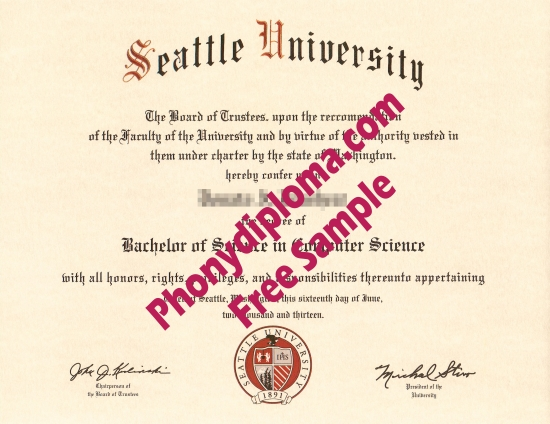 Usa Seattle University Diploma Free Sample From Phonydiploma