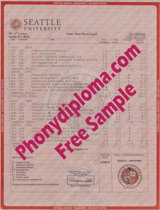 Usa Seattle University House Match Transcript Free Sample From Phonydiploma