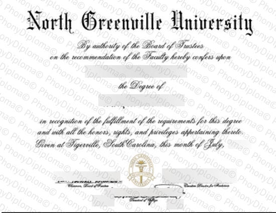 Usa South Carolina North Greenville University Free Sample From Phonydiploma