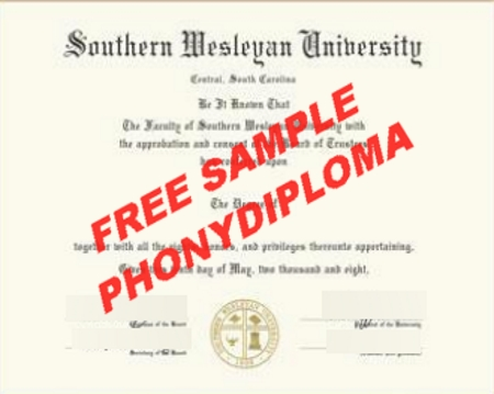 Usa South Carolina Southern Wesleyan Free Sample From Phonydiploma