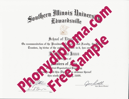 Usa Southern Illinois University Edwardsville Free Sample From Phonydiploma
