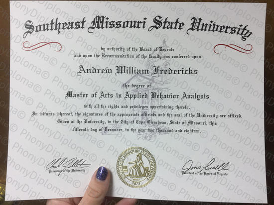 Usa Southwast Missouri State University Free Sample From Phonydiploma