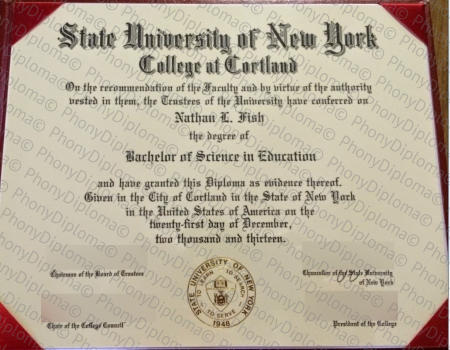 Usa State University Of New York College At Cortland Free Sample From Phonydiploma