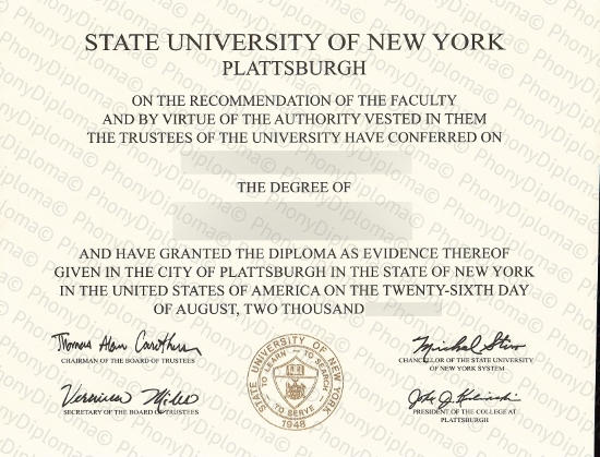 Usa State University Of New York Plattsburgh Free Sample From Phonydiploma
