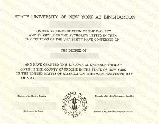 Usa State University Of New York At Binghamton Free Sample From Phonydiploma