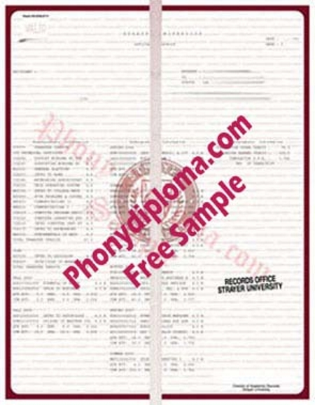 Usa Strayer University Actual Matchtranscript Free Sample From Phonydiploma