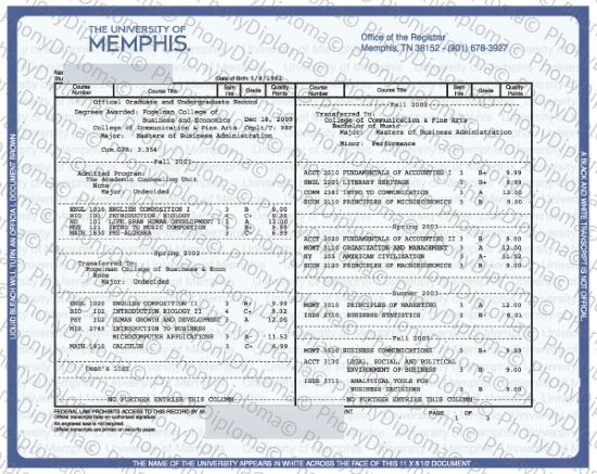 Usa Tennesse University Of Memphis Actual Match Transcript Free Sample From Phonydiploma