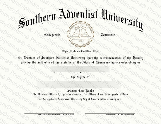 Usa Tennessee Southern Adventist University Free Sample From Phonydiploma