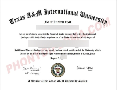 Usa Texas A&M International Free Sample From Phonydiploma