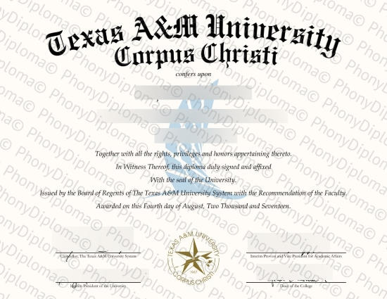 Usa Texas A&M University Corpus Christi Free Sample From Phonydiploma