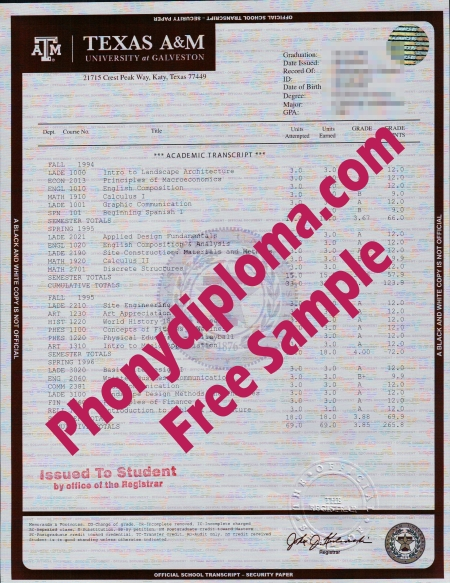 Usa Texas A&M University House Design Transcript Free Sample From Phonydiploma