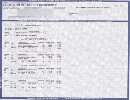 Usa Texas Southern Methodist University Actual Match Transcript Free Sample From Phonydiploma (1)