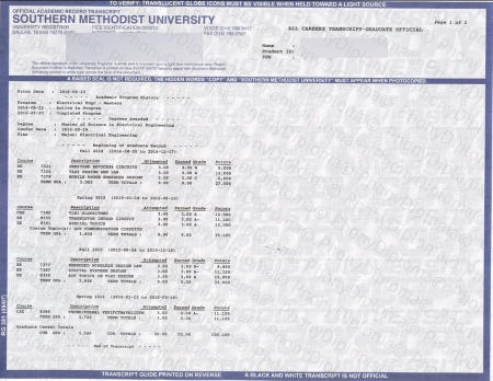 Usa Texas Southern Methodist University Actual Match Transcript Free Sample From Phonydiploma