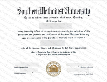 Usa Texas Southern Methodist University Free Sample From Phonydiploma
