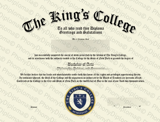 Usa The King's College New York Free Sample From Phonydiploma