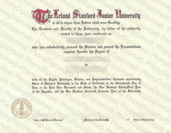 Usa The Lealand Stanford Junior University Free Sample From Phonydiploma