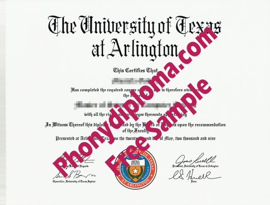 Usa The University Of Texas As Arlington Free Sample From Phonydiploma