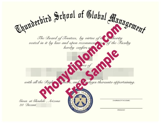 Usa Thunderbird School Of Global Studies Free Sample From Phonydiploma