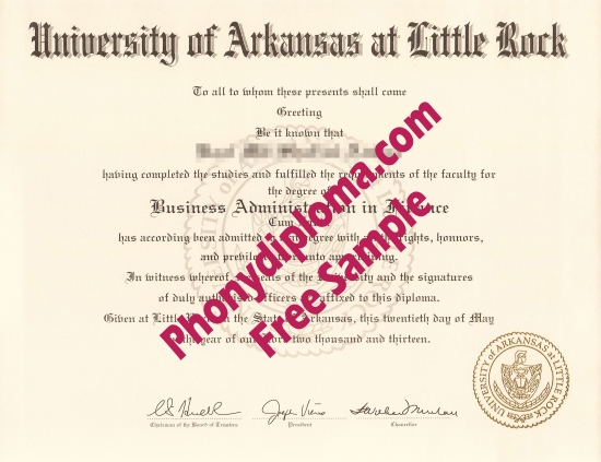 Usa University Of Arkansas At Little Rock Free Sample From Phonydiploma