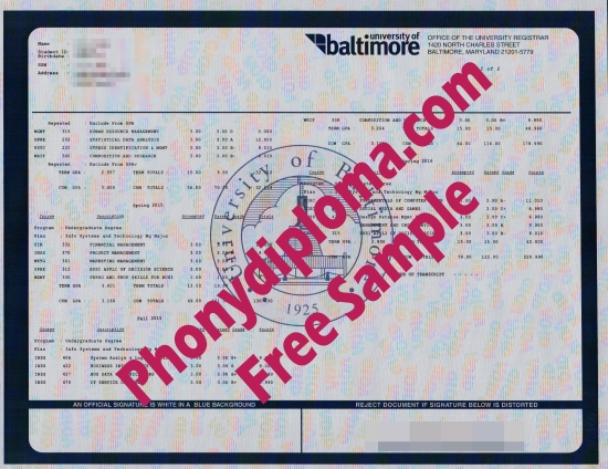 Usa University Of Baltimore Actual Match Transcript Free Sample From Phonydiploma