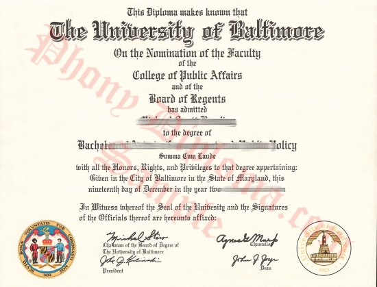 Usa University Of Baltimore Free Sample From Phonydiploma