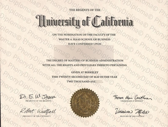 Usa University Of California Berkeley Free Sample From Phonydiploma