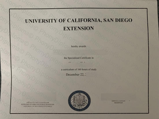 Usa University Of California San Diego Extension Free Sample From Phonydiploma
