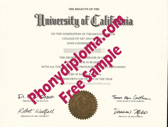 Usa University Of California Santa Barbara Free Sample From Phonydiploma