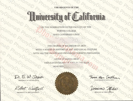 Usa University Of California Santa Cruz Free Sample From Phonydiploma