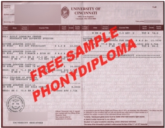 Usa University Of Cincinnati Actual Match Transcript Free Sample From Phonydiploma