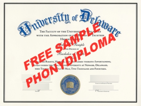 Usa University Of Delaware Free Sample From Phonydiploma