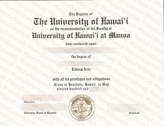 Usa University Of Hawaii Manoa Free Sample From Phonydiploma