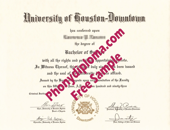 Usa University Of Houston Downtown Free Sample From Phonydiploma