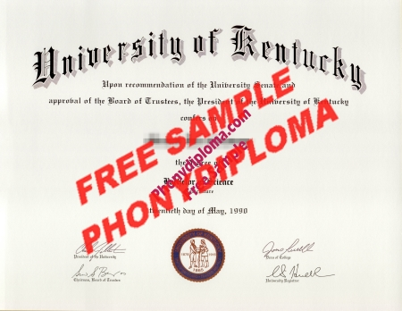 Usa University Of Kentucky Free Sample From Phonydiploma