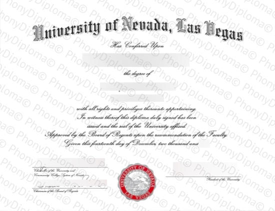 Usa University Of Las Vegas Free Sample From Phonydiploma