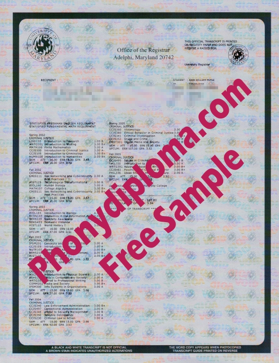 Usa University Of Maryland Actual Match Transcripts Free Sample From Phonydiploma