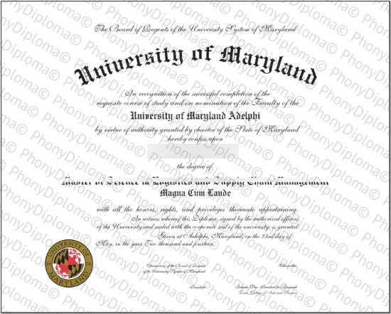 Usa University Of Maryland Adelphi Free Sample From Phonydiploma
