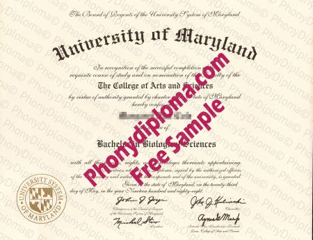 Usa University Of Maryland Any Campus Fake Diploma Sample
